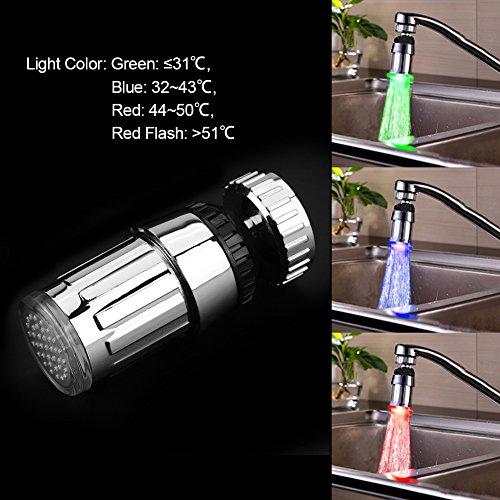 Rubinetto Luce Temperatura di 3 Colori 360 Ruota Becco Girevole Spruzzatore Rubinetto con Sensore di Temperatura per Casa Hotel