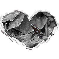 piccolo nero Poison Dart Frog nero / a forma di cuore bianco in formato sguardo, parete o adesivo porta 3D: 62x43.5cm, autoadesivi della parete, decalcomanie della parete, decorazione della