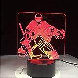 3D Nachtlichter Ice Hockey Player Sport 3D Lampe 7 Bunte LED Nachtlicht USB Schlafzimmer Schlaf Beleuchtung Geschenke für Kinder Kanadier Dekoration