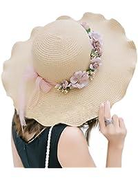 TININNA Femme Capeline Pliable Large Bord Floppy Visière Chapeau en Paille Casquette de Soleil été Plage Bonnet Capsule Anti-soleil UPF 50