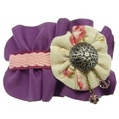 Pince à cheveux fins barrette tissu plissé violette tresse plate rose et cabochon argenté