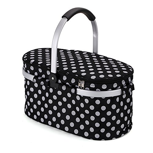 Faltbare Kühlkorb Picknickkorb Picnic Kühltasche Picknicktasche Zusammenklappbare Kühltasche Korb für Arbeitung Party BBQs und Outdoor Picknick- (Schwarz mit Oval)