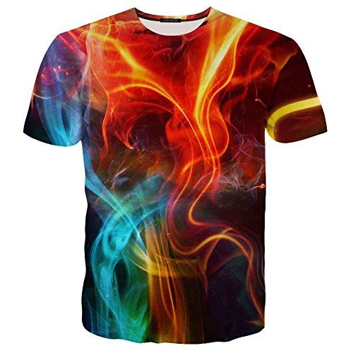 EOWJEED Unisex Lustige Casual 3D Pattern Gedruckt Kurze Ärmel T-Shirts Top Tees - M (Klein Herren Dye Tie)