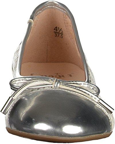 Caprice 22105 Damen Geschlossene Ballerinas Weiß/Silber
