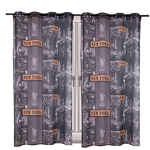 BAIVIT Bedruckte Tüll Vorhänge, Atmungsaktiv ohne Verdunkelung Voile-Vorhang Öse Schiere Gardinen Fenster, für Wohnzimmer, Kinderzimmer, Küche,Newyork,140x240cm -