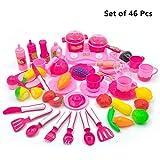 Plastik Essen Spielzeug,Lifesport Obst Gemüse Schneiden Spielzeug küchenspielzeug Pretend Play Kinder Rollenspiele Kinderkoch Spielzeug frühe Kleinkind Entwicklung und Ausbildungs-Set von 46 Stück (Rosa)