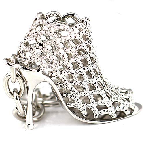 Maycom 86113 Schlüsselanhänger mit High-Heel-/Stöckelschuh-Design, hohl, silberfarben, kreatives Mode-Accessoire, Geschenkidee für Damen, silber, S