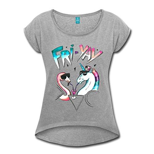 Einhorn Flamingo Fri Yay Party Frauen T-Shirt mit gerollten Ärmeln von Spreadshirt®, XL, Grau meliert