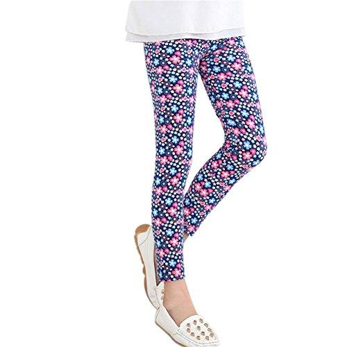 Loveble Girl's Floral Printed Stretch Leggings, Kids Tights for Girl