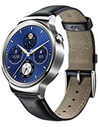 Huawei Watch W1 Silver Frame Leather Belt Android IOS Bluetooth Smart Wrist Watch Silber I