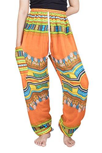 Lofbaz Mujer Dashiki Cordón Harén Boho Pantalones Naranja M
