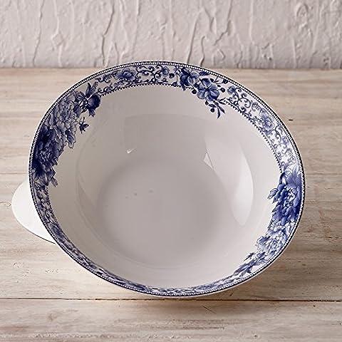 Yifom grandi da 9 pollici ciotole di zuppa Li ciotola Creative blu e bianco porcellana, bone china smalto - Bone Doppia Bowl