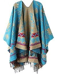5280fe68fae ABBY Femme Poncho Châle National du Vent Népal Epais Châle de Manteau  Tourisme Mode Ligne Tibet Double…