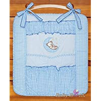 Nursery Baby Cot Tidy Organiser for Cot or Cot Bed Bear Moon - Blue
