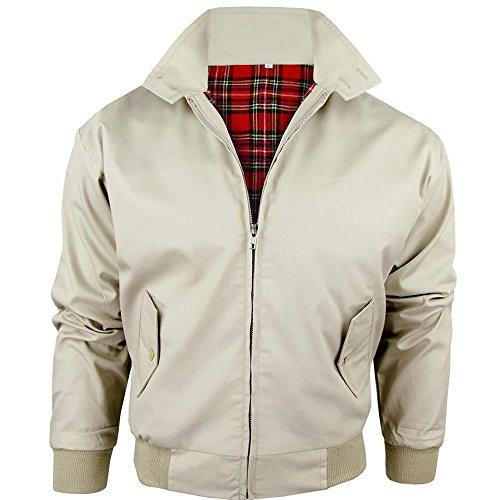 Harrington-Jacke mit kariertem Futter, gefertigt in Großbritannien, Herren, mit Reißverschluss, klassische Bomberjacke Gr. XXL, STONE (BEIGE)