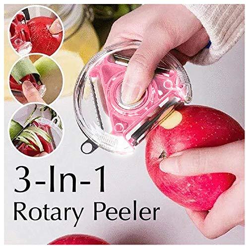 Obst Gemüsemesser Schälmesser Geschärftem Ausstecher Apfelschäler Edelstahl Sparschäler Kartoffelschäler Obstschäler 3 IN 1 Gemüseschäler Gurkenschäler