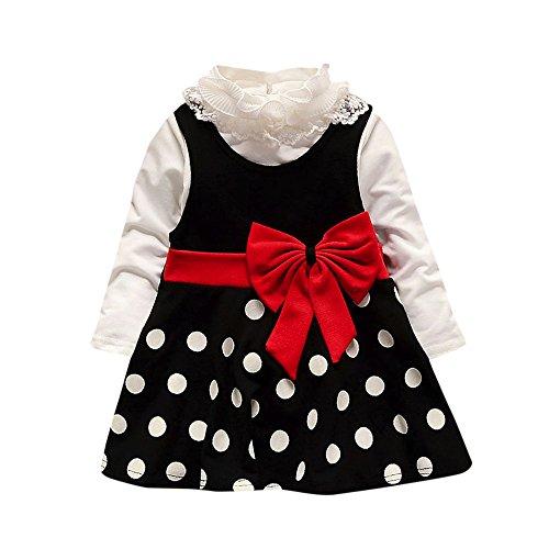 Sonnena Mädchen Langarm Kinder Baby Kleid,Spitzen Bogen Kleider Princess Dress Mode Polka Dots Pinup Partykleid Casual Bequem Minikleid Geburtstag Outfits ()
