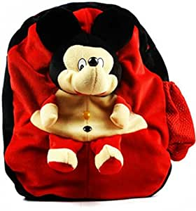 DZert Mickey Mouse Cute Teddy Soft Toy Red School Bag for Boys and Girls