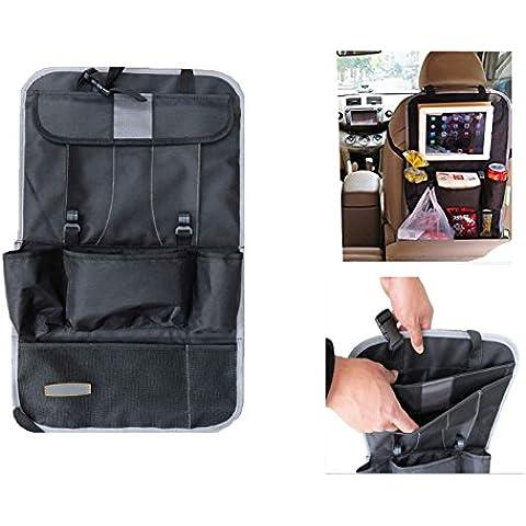 Yacool® múltiples funciones del coche del asiento trasero Organizador con almacenaje del recorrido de la tableta de bolsillo-Multi-bolsillo bolsa de basura de la bolsa del respaldo del asiento del vehículo protector de la cubierta--Gris