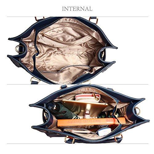 Damen Faux Leder Designer Schulter Tote Tasche Mit Oben Griff Und Einstellbar Und Abnehmbar Weich Schulter Strap - Metall Stecken Auf Das Boden Mit Gold Metall Arbeit Um Das Tasche Marine
