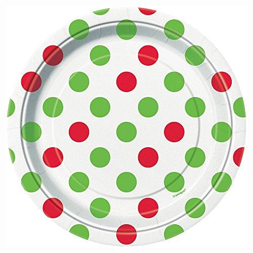 Nappe de table en plastique - Noël - Pois rouges et verts