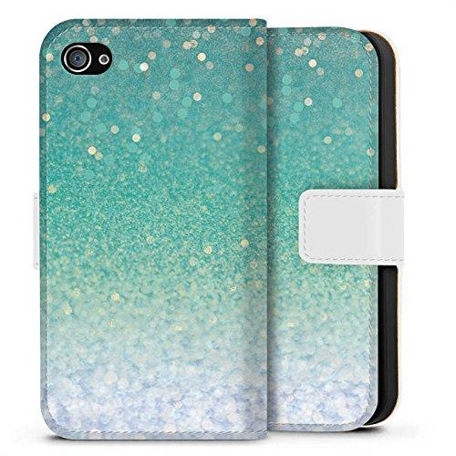 Apple iPhone X Silikon Hülle Case Schutzhülle Glitzer Grün Glitter Sideflip Tasche weiß