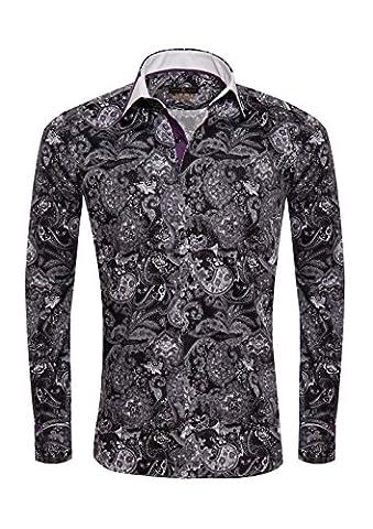 Giorgio Capone Herrenhemd, 100% Baumwolle, schwarz-lila-weiß mit Paisley Muster, Langarm, Slim & Regular Fit (XXL Reg mit (Easy Care Leinenhemd)