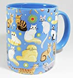 The Cat Collection Mug with blue inner and handle by Half a Donkey