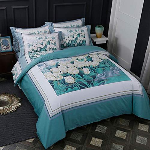 YJJSL Cotton-Bettwäsche-Set, Student Schlafzimmer Stilvolle Einfachheit Duvet Suit, Nordic 3D Geometrische Blume Naked Sleep Quilt Anzug Set - abnehmbar 3 / 4Pices -