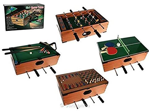 5 in 1 deluxe wooden compendium of games, Table games