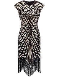 Izacu Flocc Women 1920s Art Deco Sequin Paisley Flapper Tassel Glam Party Dress