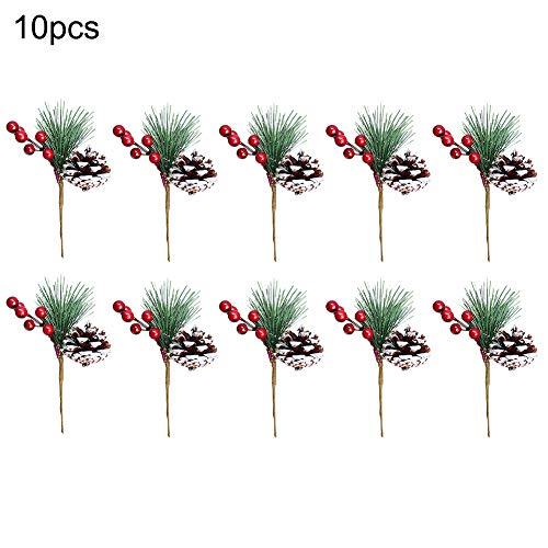 Takefuns - piccoli plettri di pino artificiale, ideali per natale, composizioni floreali, ghirlande e decorazioni per le vacanze, 10 pezzi a2