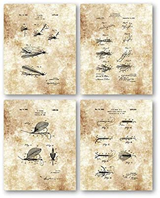 Original Fly Fishing Lures Artificial Fish Bait Drawing- Set of 4 8 x 10 Unframed Patent Prints - Great Gift for Fisherman, Lake House, Cabins by Decorative Handmade Prints