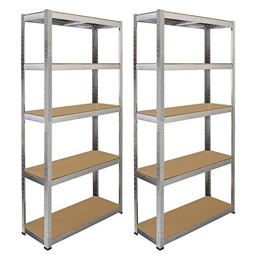 Monster Racking Galwix Steel Shelving, 175kg/shelf, 180 x 30 x 180cm, 5 Tier Galvanised Storage Bays