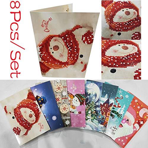 achtskarte, 8 Teile/satz Diamant Cartoon Malerei Mini Weihnachtsmann Frohe Weihnachten Papier Handwerk (Farbe) ()