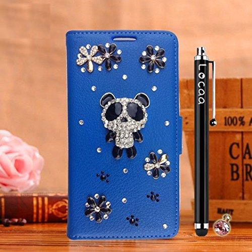 Locaa(TM) Pour Apple IPhone 5 IPhone5 5G 3D Bling Case Coque Étui Fait Cuir Qualité Housse Chocs Couverture Protection Cover Shell Etui For Phone Avec [Couleur 2] Doré papillon - Noir Panda 1 mignon 2 - Bleu