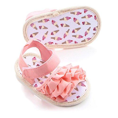 Kolylong Chaussures Bébé dentelle bébé sandales fond souple Rose