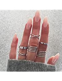 Yesiidor 6 Pcs Midi Ring Set Women Ladies Above Knuckle Midi Finger Band Rings Joint Mid Ring Finger Tip Stacking Rings Set