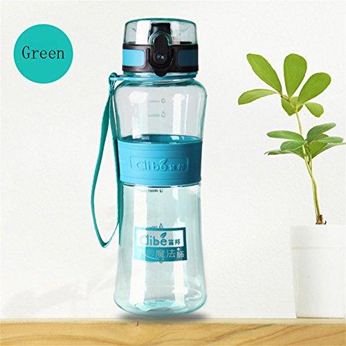 zantec 450ml Wasser Flasche Tragbar auslaufsicher Düse Wasser Flasche Sports Outdoor ökologischen Cup für Radfahren Klettern, grün (ökologische Wasser-flasche)