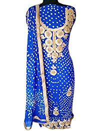 NS Creation Women's Art Silk Bhandhej Gota Patti Daaman Border Suit Crep Bottom (Xl-Unstich 2.25 Mtr)