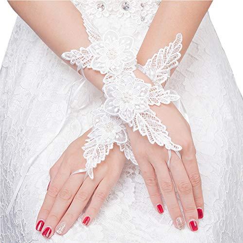 Elegante weiße Blumenspitze-Hochzeits-Handschuhe Fingerless Handschuh für die Braut -