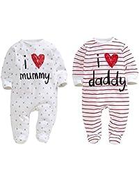 """AOMOMO, 2 tutine per neonati, unisex, chiuse ai piedi, con scritte in lingua inglese """"I Love Mummy"""" e """"I Love Daddy"""""""