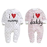 AOMOMO Unisex-Baby Newborn Footie I Love Mummy I Love Daddy Bodysuit 2 Pack