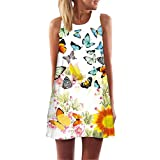 MRULIC Damen Lovely Mini Floral Printing A-Linie Kleider Beach Dress Vintage Boho Frauen Sommer Ärmelloses Party Kleide (Gelb,EU-48/CN-3XL)