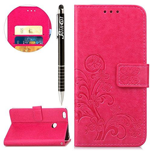 SainCat Funda Xiaomi Mi MAX 2, Billetera de Suave PU Funda Doble Cara de Relieve Funda de Piel Wallet Case con Ranura Tarjetas y del trébol Flip CaseFlip Funda para Xiaomi Mi MAX 2-Rosa roja