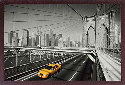 Manhattan-walnuss (empireposter New York - Yellow Cab colourlight - Poster Foto Manhattan New York NYC USA colourlight - 91,5x61 cm + Wechselrahmen, Shinsuke® Maxi MDF Walnuß, Acryl-Scheibe)
