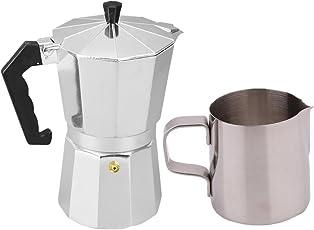 Segolike 3 Cups Moka Pot Aluminum Coffee Maker & 350ml Coffee Frothing Tea Milk Jug