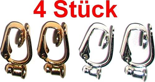 Ohrring / Ohrstecker Umwandler zum Ohr-Clip silber- und gold-farben (Mengenrabatt - je mehr desto preisgünstiger) (4)