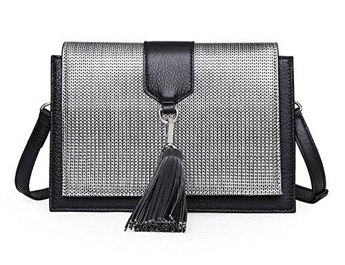 Xinmaoyuan Borse donna in pelle Borsette femmina singolo Shoulde Messenger Bag infiorescenza staminifera quadrato piccolo sacchetto,argento Argento