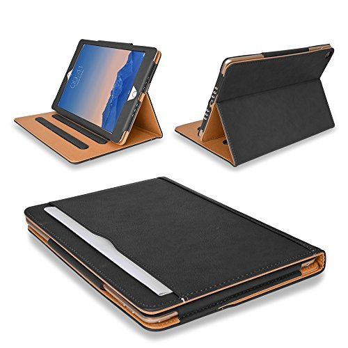 "MOFRED® Black & Tan Apple iPad Air 2 (Launched 2014) Leather Case-Voted #1 Best iPad Case by ""The Daily Telegraph"" (iPad Models A1566 A1567)"